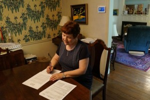 Signing my first book contract